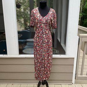 Vintage 90s Floral Button Front Lace Back Dress
